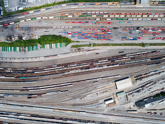 Queensgate Rail Yard (Travis Estell) Tags: cincinnati djiphantom4pro ohio queensgate queensgaterailyard aerial aerialphotography drone intermodalcontainer intermodalfreight quadcopter railyard shippingcontainer unitedstates us