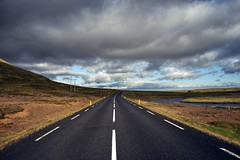 Lonely road in Iceland (PeterThoeny) Tags: vatnaleið vatnaleid iceland road sky landscape day cloudy cloud symmetry sony sonya7 a7 a7ii a7mii alpha7mii ilce7m2 fullframe fe2870mmf3556oss 1xp raw photomatix hdr qualityhdr qualityhdrphotography fav200