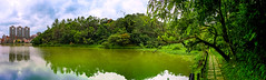 Back to The Nature (Jimweaver) Tags: mountain lake blue cloudy mirror panorama taipei taiwan bio sunny 湖 鏡 倒影 台灣 台北 水 河 風景 全景 環場 green tree grass building 綠 草 樹 建築 environment 環境 asia 亞洲 cof030mari cof030dmnq cof030ally