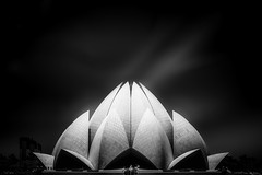 Lotus Temple - Delhi (Halogénure) Tags: india indian blackandwhite black fineart minimalism longexposure architecture modern clouds temple delhi cityscape lotus reflections flower art concept abstract