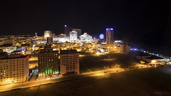 Atlantic City Lights (New Jersey) (Andrea Moscato) Tags: andreamoscato america usa unitedstates us city città cityscape view vista vivid overlook night notte notturno dark darkness light shadow black yellow orange building buildings architecture edificio town downtown tower skyscraper skyline hotel resort
