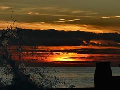 Evening Splash - worth a view in full screen mode. (sunset1uk) Tags: southwickbeach sunset groynes silhouette englishchannel englanduk sea splash water autofocus