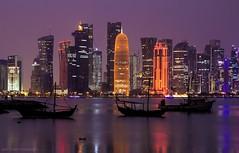 CITY LIGHTS (Ziad Hunesh) Tags: zhunesh canon 650d longexposure towers sea qatar doha city cityscape night lights skyline boats