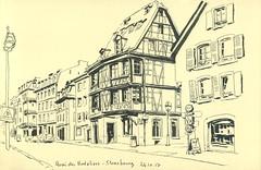 Quai des Bateliers - Strasbourg (lolo wagner) Tags: croquis sketch usk urbansketchers strasbourg