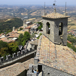 Top view from the Castello della Guaita of San Marino