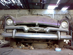 Time machine...! (farrukhathar) Tags: flickr lahore mall road old car vintage purple junkyard workshop shed 1950s plymouth belvedere in explore afternoon flickrexplore abandoned sleep nokia n73 2012