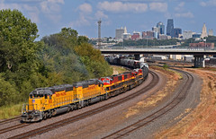 """Westbound Transfer in Kansas City, KS (""""Righteous"""" Grant G.) Tags: up union pacific railroad railway locomotive train trains west westbound emd power kcs kansas city southern"""