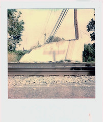 Old Underpass (m.ashe7) Tags: railway trains polaroid polaroidoriginals sx70 tracks faded outdoors transport instantfilm lofi