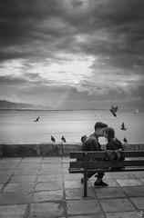 Eternal love (tzevang.com) Tags: seascape piraeus greece bythesea bwseascape bw photography love couple street