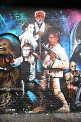 Graffiti in Brick Lane area, Shoreditch (Ian Press Photography) Tags: obi wan kenobi chewbacca wookie han solo c3po graffiti streetart street art london shoreditch brick lane artist artists jim vision star wars