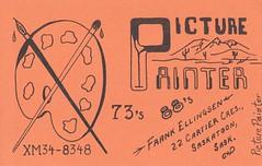 Picture Painter: Picture Painter - Saskatoon, Saskatchewan (73sand88s by Cardboard America) Tags: vintage qsl qslcard cbradio cb picturepainter artistcard saskatchewan