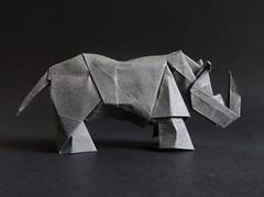 Rhinoceros designed by Hideo Komatsu [Hideo Komatsu challenge 41/50] (Orizuka) Tags: origami hideokomatsu hkchallenge rhinoceros grainypaper
