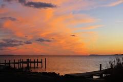 Island Sunset (Patricia Henschen) Tags: chester maryland sunset chesapeake bay pier wharf chesapeakebay craballeybay clouds water reflection kentisland island easternshore