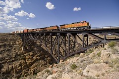 Wide (Colin Dell) Tags: bnsf train intermodal ge engines locomotive canyondiablo az arizona stack canyon