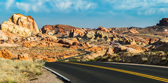 Desert Drive (tquist24) Tags: mojavedesert nevada nikon nikond5300 valleyoffirestatepark clouds desert geotagged highway park road rock rockformation rocks sandstone sky winding unitedstates brilliant wow gorgeous