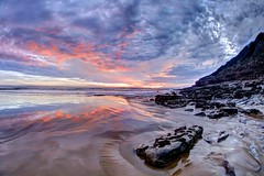 Don't let the sun get in the way (pauldunn52) Tags: witche spoint dunraven glamorgan heritage coast wales rock pool cliff sunset pink purple blue reflection clouds erosion