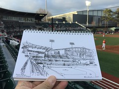 Foley Baseball Field - University of Georgia (schunky_monkey) Tags: journal penandink ink pen fountainpen illustrator illustration handdrawn freehand drawing draw sketchbook sketching sketch diamond ballpark stadium sports athens baseball uga universityofgeorgia foleyfield