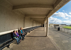 Seaton Carew. (CWhatPhotos) Tags: cwhatphotos clouds cloud sky above skies olympus omd em10 digital camera photographs photograph pics pictures pic picture image images foto fotos photography artistic that have which with contain fish eye view people seats seaton seatoncarew carew sitting down family bus station stop hartlepool samyang prime lens wide angle