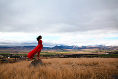 our paradise (OneLifeOnEarth) Tags: onelifeonearth paradisevalley montana girl reddress poetry love mythoughts mywords myheart throughherlens