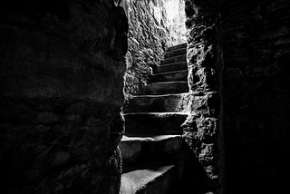 steps up to the light, fine art black & white at Tolquhon Castle, Aberdeenshire, Scotland
