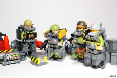 Military Trooper X59 and friends (Devid VII) Tags: moc mecha military minifig lego olive green devid devidvii vii crew x58 maintainer mech war troopers