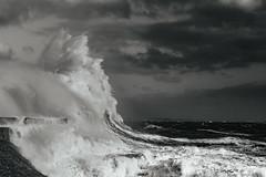 Ophelia rising high (Tim Bow Photography) Tags: stormophelia dramaticseascape dramatic sea water wales porthcawl lighthouse pier timboss81 timbowphotography ukwildweather storm storms ukstorms adventure outdoor windy violent hurricane ophelia mood ominous blackandwhiteseascape large waves