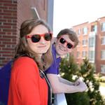 Students enjoying the balcony on Innovation Hall.