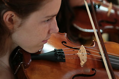 V comme violon (Pi-F) Tags: violon instrument bois texture corde ouie femme jeune fille jouer archet regard visage profil musique
