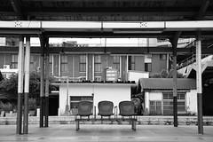 Empty Seats at the Train Station (superzookeeper) Tags: 5dmk4 5dmkiv canoneos5dmarkiv ef2470mmf28liiusm eos digital taiwan hsinchu blackandwhite bnw monochrome tw formosa railway railwaystation train trainstation emptyseat platform over1000views