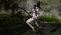 The Witching Hour Coco Style. (Ashley Densu) Tags: thewash sale kitty goddess pkd prettykittydesigns gacha quirky broom halloween witches swamps brew secondlife sl art photography 3d 3dphotography 3dartwork 3dart