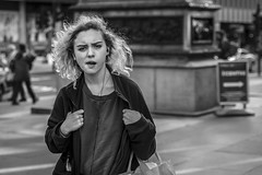 With Attitude (Leanne Boulton) Tags: portrait urban street candid portraiture streetphotography candidstreetphotography candidportrait streetportrait eyecontact candideyecontact streetlife woman female girl face eyes facial expression attitude mood emotion feeling tone texture detail depthoffield bokeh naturallight outdoor light shade shadow city scene human life living humanity society culture canon canon5d 5dmarkiii 70mm character ef2470mmf28liiusm black white blackwhite bw mono blackandwhite monochrome glasgow scotland uk