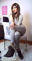Sitting in Stripes (jessicajane9) Tags: tv transgender tgurl crossdress lgbt feminised xdress tg transvestite crossdressing m2f trans cd tgirl