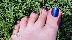 ILNP - Cygnus Loop (OkieToes) Tags: male guy men man masculine nail nails toes toenail toenails toe foot feet pedicure pedi sandal sandals polish lacquer gloss finish shine glossy fun daring cygnusloop blue orange colorshift ultrachrome chrome green