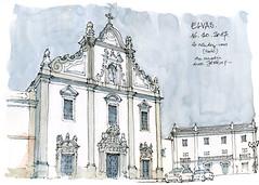 Elvas, l'église des dominicains (gerard michel) Tags: portugal elvas architecture église façade baroque sketch croquis