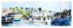 La Roche Bernard - Bretagne - France (guymoll) Tags: larochebernard bretagne france croquis sketch port harbour bateaux barques aquarelle watercolour watercolor
