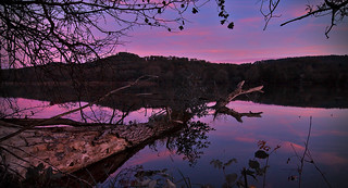 Sunset reflections on Lake Moray Hutch