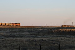 Approaching Each Other (kschmidt626) Tags: powder river coal train wyoming bnsf union pacific sunset sunrise tier 4