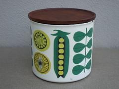 Finel Enamel & Rosewood Mid Century Modern Kitchen Storage Jar Made in Finland (beetle2001cybergreen) Tags: finel enamel rosewood mid century modern kitchen storage jar made finland