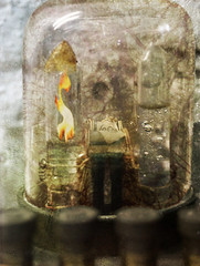 Alchemy (Seeing Visions) Tags: 2017 photocollage device technology alchemy fire flame water bubbles boiling glass transparent dome reflection texture raymondfujioka