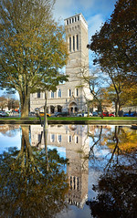 Plymouth Guildhall Vertical Panorama (jamiegaquinn) Tags: plymouth devon city centre reflections autumn colours reflection panorama stitch guildhall trees
