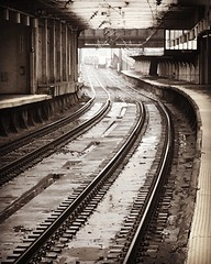 """""""At some point, I must have felt lonely or happy or something..."""" (Andrew Aliferis) Tags: newark pennsylvania station rain nj newjersey urban tracks train bw blackandwhite railroad iphoneography andrew andy aga aliferis instagram"""