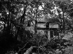 supernatural.... (BillsExplorations) Tags: abandoned abandonedillinois abandonedhouse decay ruraldecay forgotten demons haunted creepy scary hidden blackandwhite monochrome oncewashome trees woods halloween supernatural sos farm rural