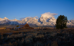 Obligatory sunrise shot on Mormon Row, Grand Teton National Park, Wyoming (Breck Miller) Tags: wyoming grandteton nationalparks america mountains landscape abandoned