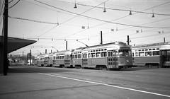 MTA PCC 3297 3308 Riverside Sta c1960 (ironmike9) Tags: riverside newtonma streetcar trolley tram track rail lightrail transit publictransit mta mbta pcc stationm station