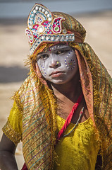 All dressed up (bag_lady) Tags: costume dressedup 2016camelfair pushkar rajasthan india beggar gypsy