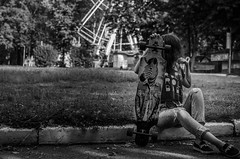 Anna Avtushenko (ivan_volchek) Tags: girl longboard bench summer park morning shine hairstyle street jeans sneakers shirt fighting leaves tree portrait arealongboard area figure shading toning curbs longboards longy zebbie road grass