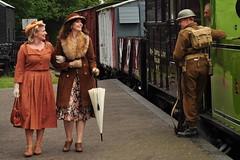 Mid Suffolk Railway (daveknight1946) Tags: vintage 1940s ladies women train carriages platform suffolk soldier army armysoldier umbrella rifle armyuniform1940s sundaylights destination steamtrain people
