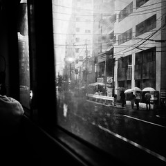 riding a bus/バスに乗る (s_inagaki) Tags: bus raining window tokyo snap monochrome blackandwhite bnw bw バス 雨 窓 東京 スナップ モノクロ 白黒