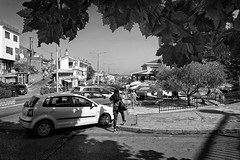 Big City Trafic In A Small Town (Alfred Grupstra) Tags: blackandwhite street urbanscene car people city outdoors house citylife oldfashioned buildingexterior architecture traveldestinations builtstructure old town cityscape developingcountries travel road ulcinj montenegro shadows