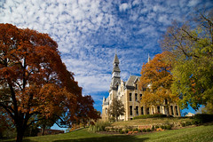 Park University (KC Mike Day) Tags: university fall autumn trees tree sky blue clouds